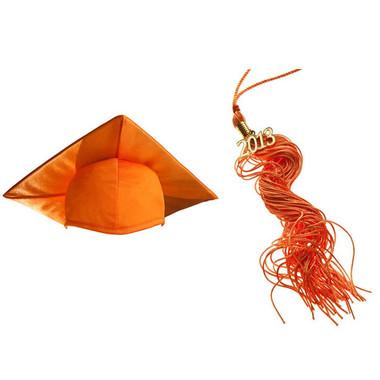 Shown is child shiny orange cap & tassel package (Cool School Studios 0436).
