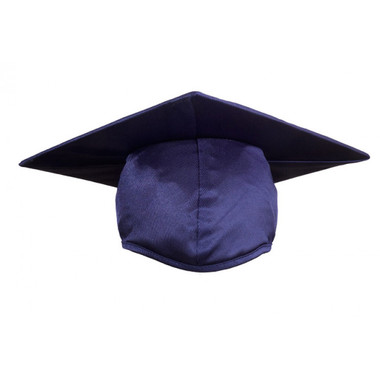Shown is child shiny navy blue cap (Cool School Studios 0504), front view.
