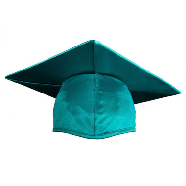 Shown is child shiny emerald green cap (Cool School Studios 0509), front view.