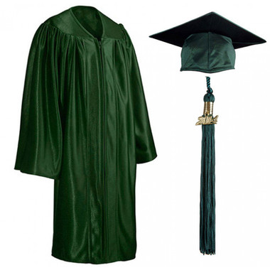 Shown is child shiny forest green cap, gown & tassel package (Cool School Studios 0602).