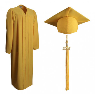 Shown is matte gold cap, gown & tassel package (Cool School Studios 0311).