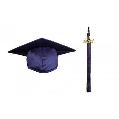 Shown is child shiny navy blue cap & tassel package (Cool School Studios 0431).