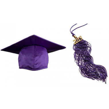 Shown is child shiny purple cap & tassel package (Cool School Studios 0432).