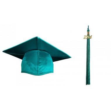 Shown is child shiny emerald green cap & tassel package (Cool School Studios 0434).