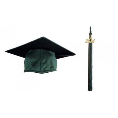 Shown is child shiny forest green cap & tassel package (Cool School Studios 0435).