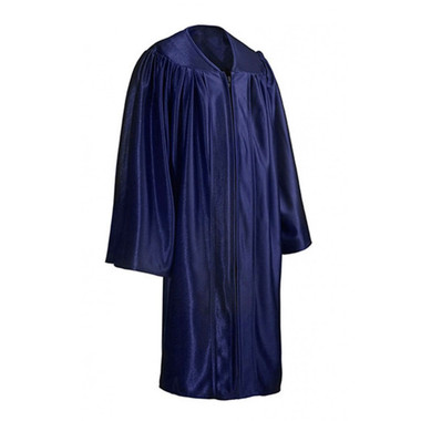 Shown is child shiny navy blue gown (Cool School Studios 0416), full view.