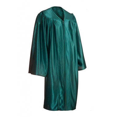 Shown is child shiny emerald green gown (Cool School Studios 0417), full view.