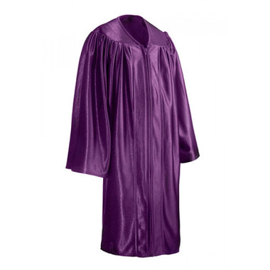 Shown is child shiny purple gown (Cool School Studios 0419), full view.