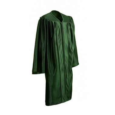 Shown is child shiny forest green gown (Cool School Studios 0420), full view.