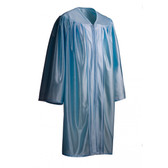 Shown is child shiny sky blue gown (Cool School Studios 0421), full view.