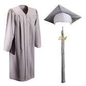 Shown is matte silver cap, gown & tassel package (Cool School Studios 0310).