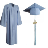 Shown is matte sky blue cap, gown & tassel package (Cool School Studios 0307).
