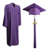 Shown is matte purple cap, gown & tassel package (Cool School Studios 0308).