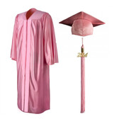 Shown is shiny pink cap, gown & tassel package (Cool School Studios 0144).