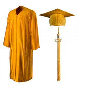 Shown is shiny gold cap, gown & tassel package (Cool School Studios 0138).