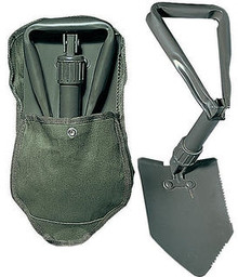 Tri fold shovel with cover