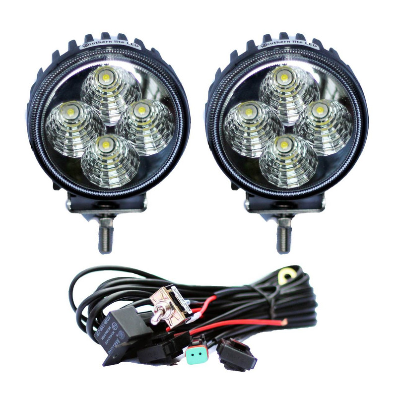 12 Watt Round Work Light Package (2 Round Lights & Wiring Harness)