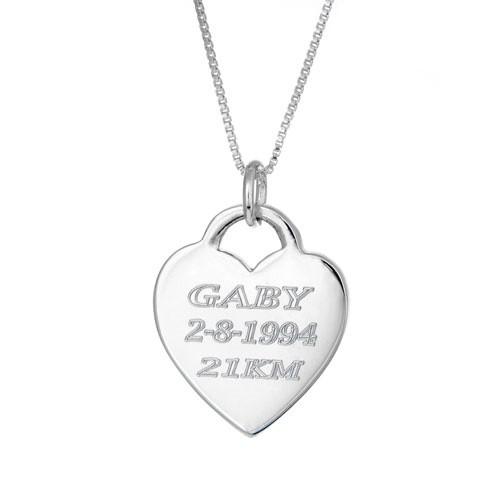 personalized Engraved  heart on a box chain.