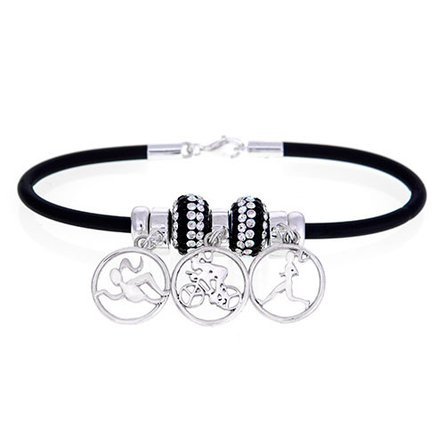 This Rubber bracelet features our Milestones Runner girl, biker and swimmer girls. the Triathlon dangle beads are flanked by 2 brilliant Black and clear crystal Swarovski crystal beads and 2 sterling silver stopper beads.