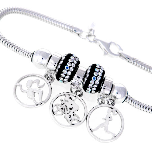 This Triathlon three charm  bracelet features our Milestones swimmer, biker and runner girls in a circle dangle bead. We the dangles with our stunningly brilliant Black and Clear Swarovski crystal beads and finished white off with two sterling silver stopper beads to hold this awesome design in place.
