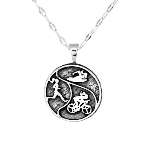 Triathlon necklace features the Milestones gals swimming, biking and running in this sterling silver pendant on a star chain.