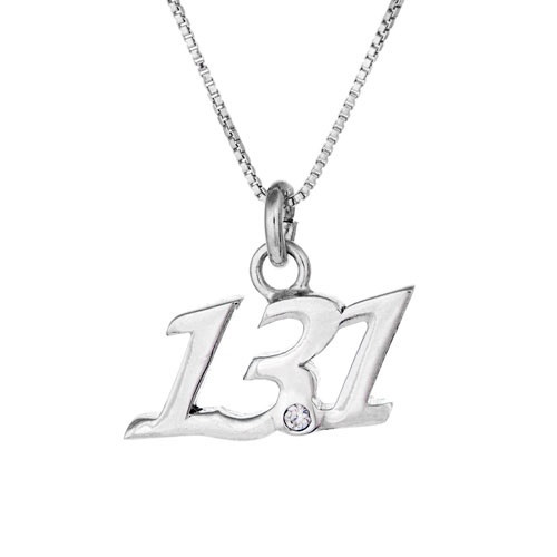13.1 sterling silver necklace. Pendant has a clear crystal at the point and comes on a sterling silver box chain.