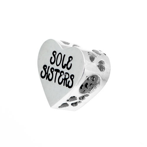 Sole sisters heart Pandora style bead.
