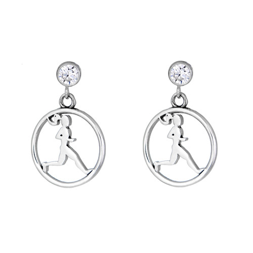 Front view of runner circle post earrings with cubic zirconia.