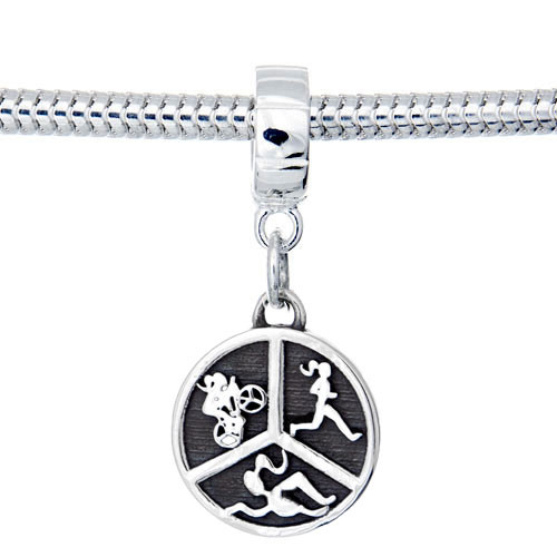 Triathlon Charm Dangle Bead