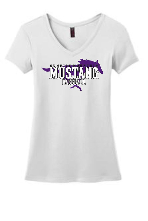 WHITE WOMENS MUSTANG V-NECK