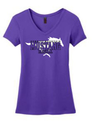 PURPLE WOMENS MUSTANG V-NECK