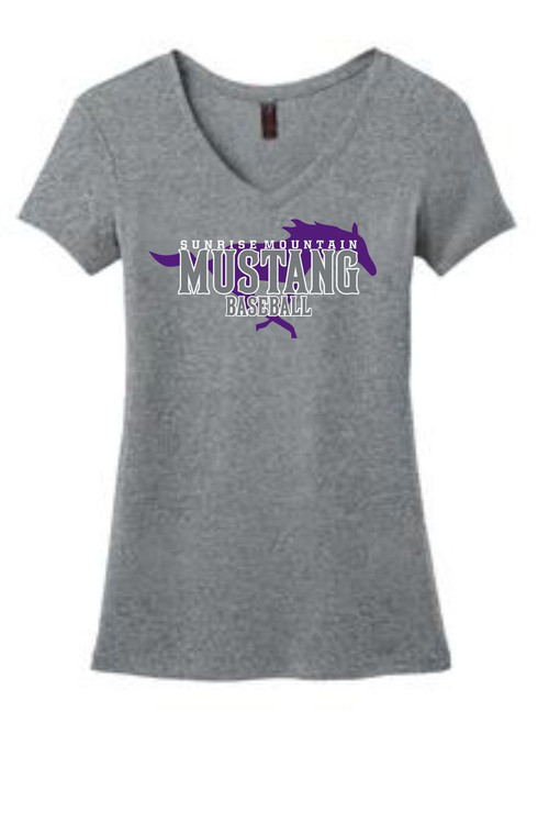 HEATHERED NICKEL WOMENS MUSTANG V-NECK