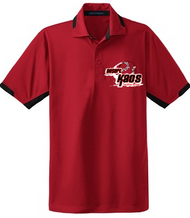 DESERT KAOS ADULT RED/BLACK COLORBLOCK POLO WITH EMBROIDERED LOGO