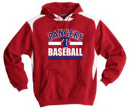 RANGERS ADULT RED/WHITE TWO TONE HOODIE WITH BASEBALL LOGO