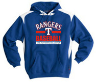 RANGERS ADULT ROYAL/WHITE TWO TONE HOODIE WITH BASEBALL LOGO