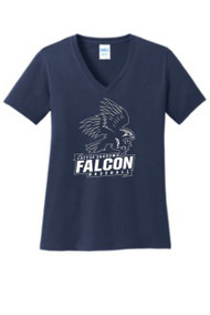 FALCONS LADIES NAVY RELAXED V-NECK WITH LOGO