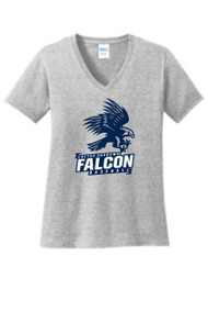 FALCONS LADIES GREY RELAXED V-NECK WITH LOGO