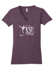 PRIMA DANCE EGGPLANT HEATHER TRI-BLEND V-NECK