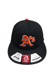 ATHLETICS BLACK/ORANGE FLEXFIT HAT WITH A'S LOGO