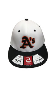 ATHLETICS WHITE/BLACK FLEXFIT HAT WITH A'S LOGO