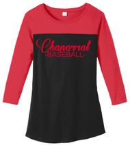 CHAPARRAL BASEBALL JUNIORS RED RALLY 3/4 SLEEVE TEE WITH SCREENED LOGO
