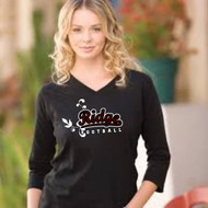 BLACK 3/4 SLEEVE V-NECK