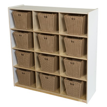 WD50912WHT-719 (12) White Cubby Storage with Medium Baskets
