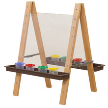 WD17523BN Tot Size Double Acrylic Easel with Brown Trays