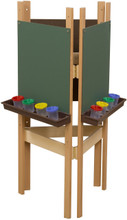 WD18600BN 3-Sided Adjustable Easel with Chalkboard & Brown Trays