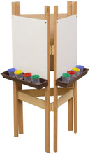 WD18625BN 3-Sided Easel with Markerboard & Brown Trays