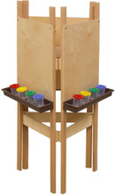 WD18700BN 3-Sided Adjustable Easel with Plywood & Brown Trays