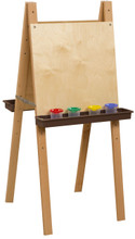WD19000BN Double Adjustable Easel with Plywood & Brown Trays