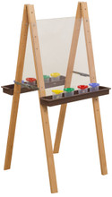 WD19025BN Double Easel with Acrylic 2 Sides & Brown Trays
