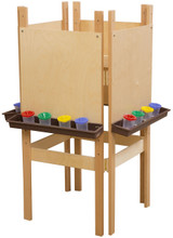 WD19100BN 4 Sided Easel with Plywood & Brown Trays